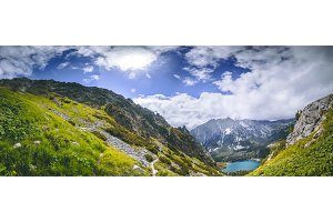 The green valley, Strbske Pleso lake. The Tatras.
