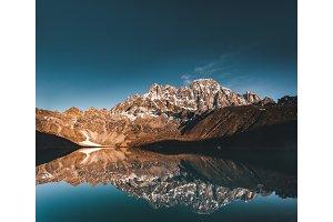 Gokyo Lake on the Himalayas mountains background.