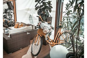 Stylish restaurant interior with mod bicycle.