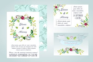 Watercolor Floral Invitation Set