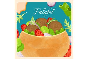 Falafel exotic eastern dish with meat and vegetables