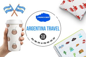 Argentina travel icons set, cartoon