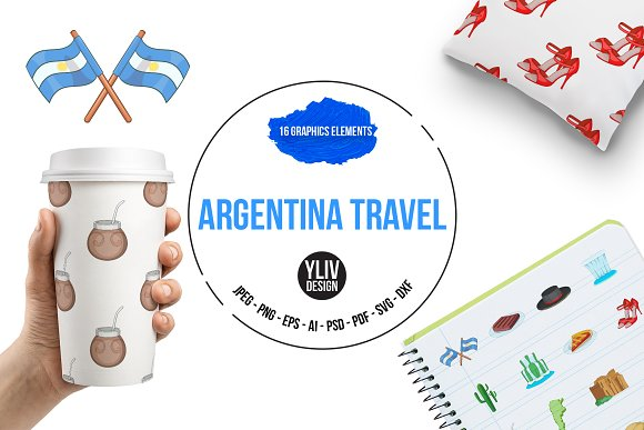 Argentina Travel Icons Set Cartoon