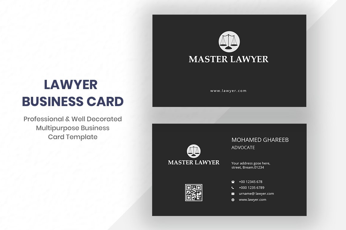 Lawyer business card business card templates creative market fbccfo Gallery