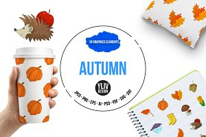 Autumn items icons set, cartoon
