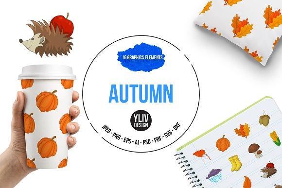 Autumn Items Icons Set Cartoon