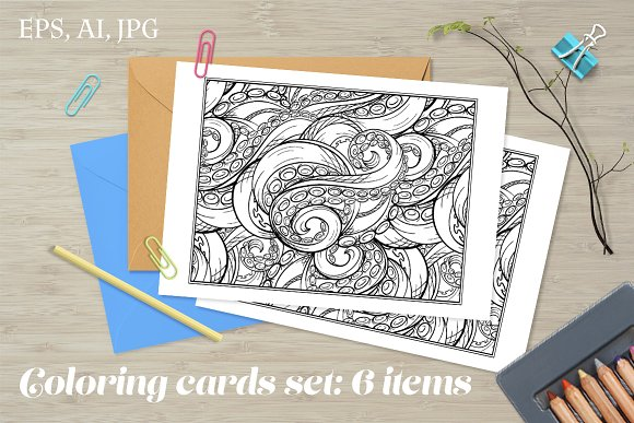 Antistress Coloring Cards Set