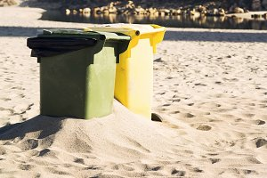 trash cans for garbage  in beach