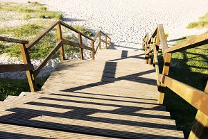 wooden staircase to beach
