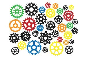 Gear icons silhouette isolated engine wheel equipment machinery element vector illustration.