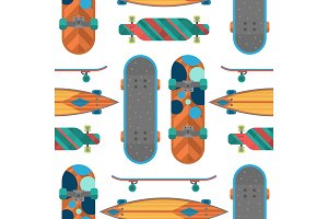 Skateboard items fingerboard seamless pattern background vector sport equipment skating transportation decorative speed freestyle leisure.