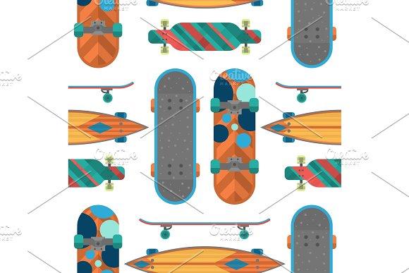 Skateboard Items Fingerboard Seamless Pattern Background Vector Sport Equipment Skating Transportation Decorative Speed Freestyle Leisure