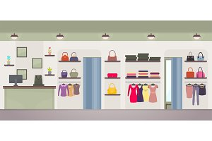 Women's Clothing Store Vector Illustration