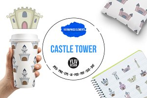 Castle tower icons set, cartoon