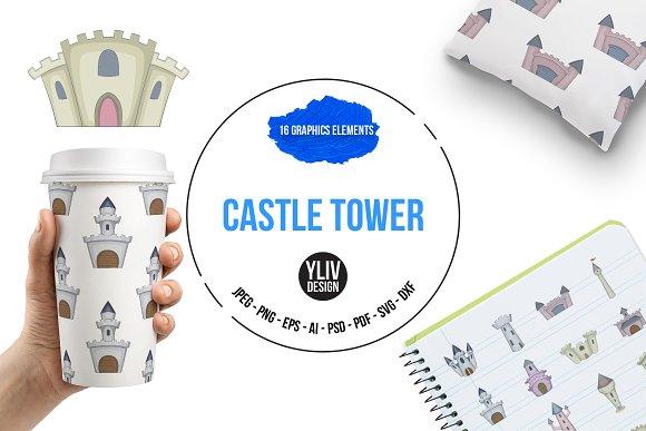 Castle Tower Icons Set Cartoon