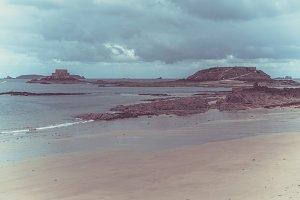 Low tide in Saint Malo, Brittany,