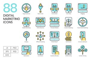 88 Digital Marketing Icons