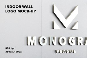 Indoor wall logo mockup badge 3D