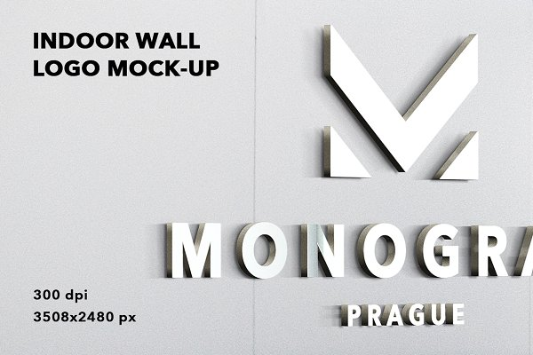 Indoor Wall Logo Mockup Badge 3d Psd Mockup All Free Mockups