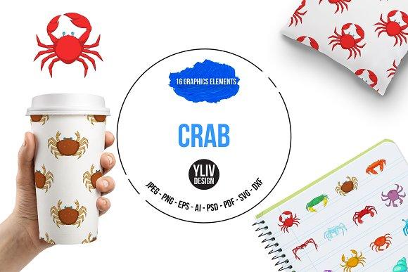 Crab Icons Set Cartoon Style
