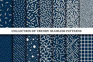 Set of memphis trendy patterns