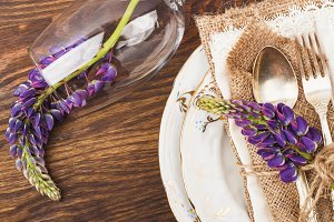 Tableware with violet lupines