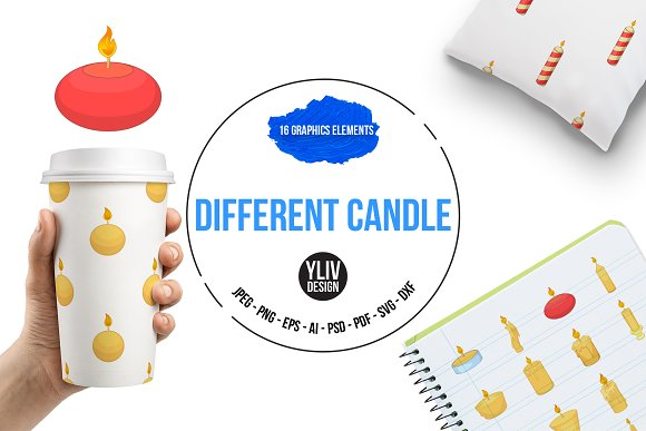 Different Candle Icons Set Cartoon