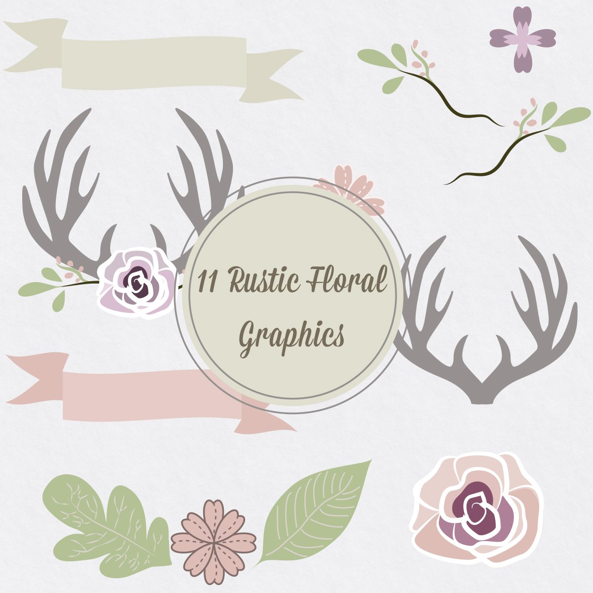 Rustic Floral Vector Antler Graphics Creative Market