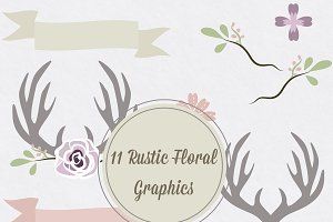Rustic Floral Vector Antler Graphics