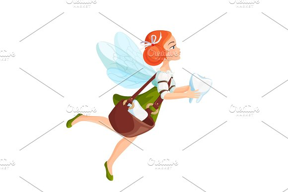 Tooth Fairy With Transparent Wings In Green Dress