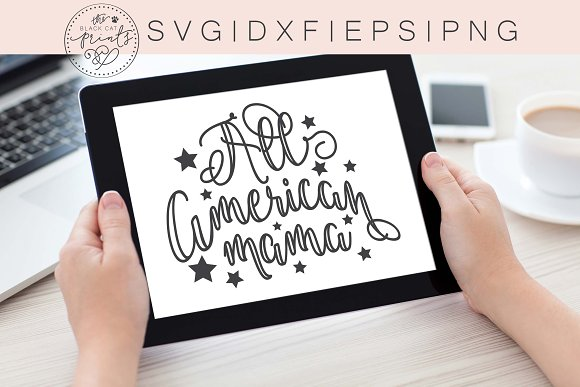 All American Mama SVG DXF PNG EPS