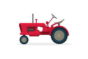 Red agricultural tractor on huge wheels for field works