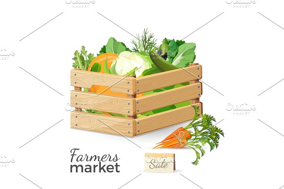 Sale At Farmers Market Promo Poster With Vegetables In Wooden Box