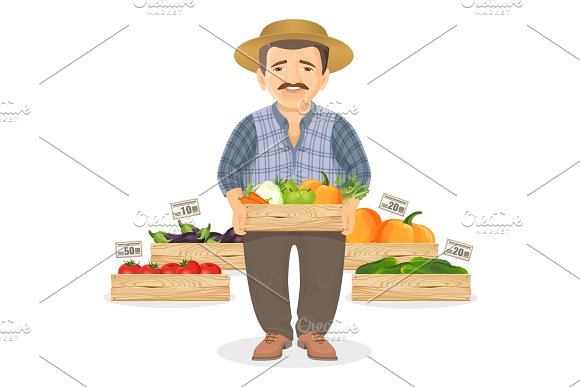 Farmer With Wooden Boxes Of Fresh Vegetables For Market
