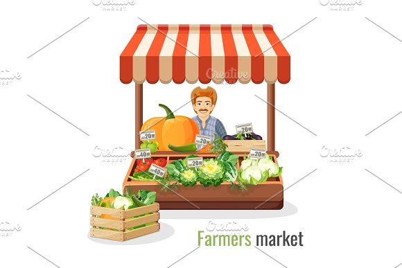 Farmers Market Promo With Man At Counter Full Of Vegetables