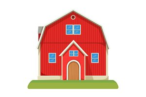Red capacious farm barn with two-storey and neat lawn