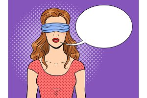 Blindfolded girl pop art vector illustration