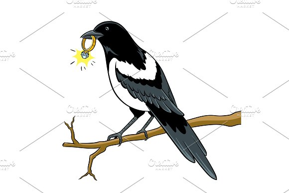Magpie Bird With Golden Ring Pop Art Vector