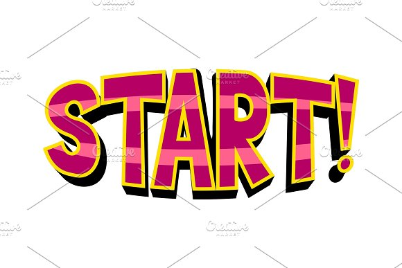 Start Word Comic Book Pop Art Vector Illustration
