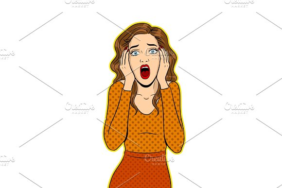 Scream Woman Pop Art Vector Illustration