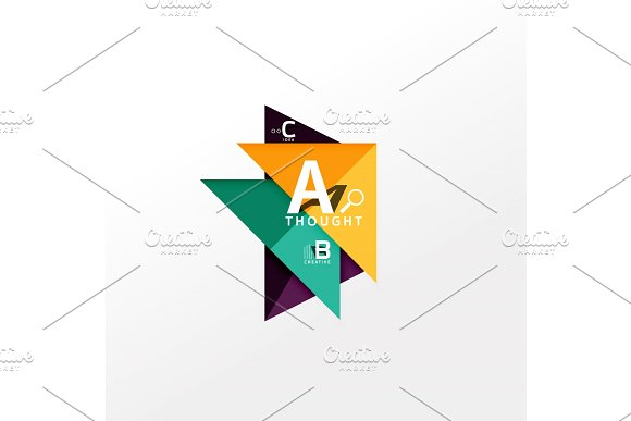 Geometric Infographic Banner Paper Info Diagram Created With Color Shapes
