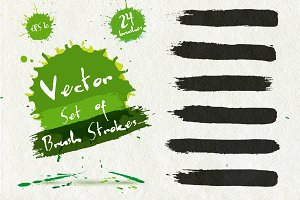 Vector set of 18 brush strokes