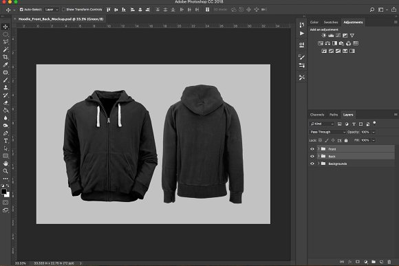 Hoodie Front Back PSD Mockup