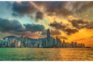 Sunset above Victoria Harbour in Hong Kong