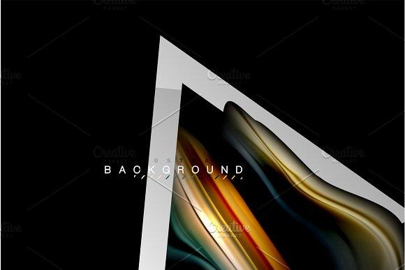 Liquid Fluid Colors Holographic Design With Metallic Style Line Shape