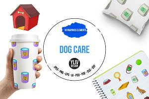 Dog care icons set, cartoon style