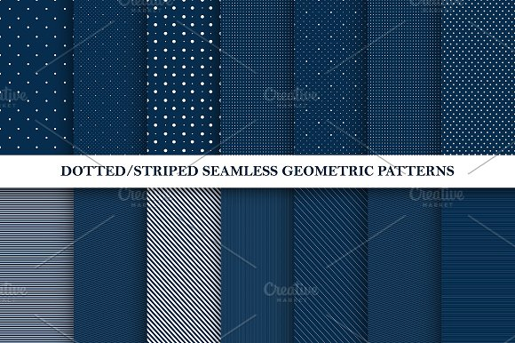 Dotted Striped Seamless Patterns