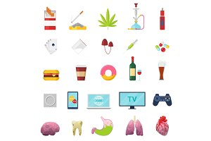 Addiction vector addicted and bad habit smoking fastfood or alcohol abuse illustration set of sick internal organs liver or heart isolated on white background