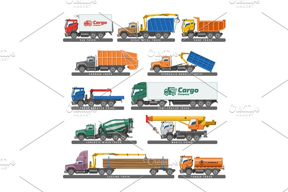 Truck Vector Delivery Vehicle Or Cargo Transportation And Trucking Transport With Trailer Illustration Set Of Concrete Mixer Truck Or Lorry Trailer Isolated On White Background