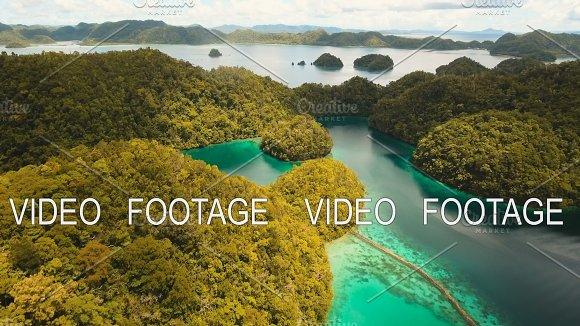 Aerial View Tropical Lagoon Sea Beach Tropical Island Siargao Philippines